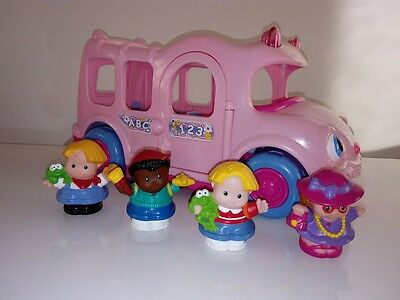 Fisher Price - Educational Musical Little People - Pink School Bus lot