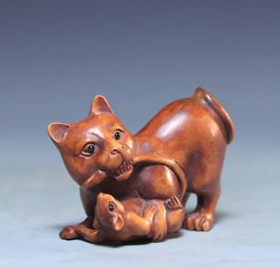Fine Japanese Wood Netsuke, Cat. Meiji Pd.