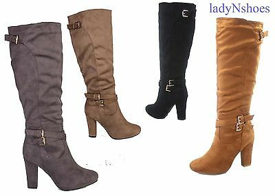 NEW Women's Almond Toe Chunky Heel  Zip Mid-Calf Knee High Boots Size 6 - 10
