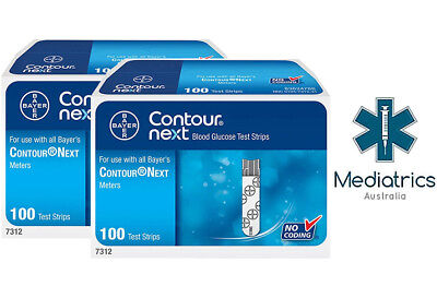 100 x Bayer Contour Next Blood Glucose Test Strips (Exp 03/2019)