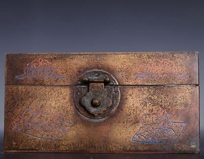 Rare Old Chinese Bronze Rectangle Cover Box Marked MinGuo Period US007