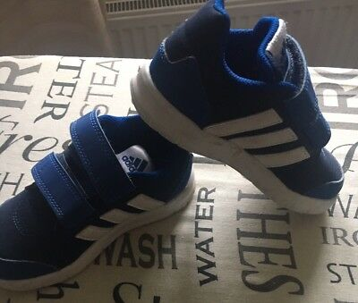 Little Boys Adidas Hoops NEO Label Trainers, Size UK 7 Infant, Blue & White