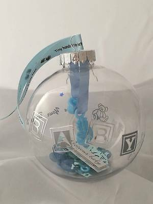 Baby Boy Bauble & Stand - Hand decorated, Christening/baby shower/new baby gift
