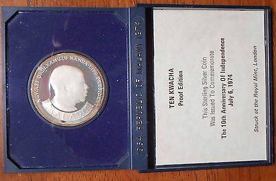 1964-1974 Republic Of Malawi Ten Kwacha Proof Silver Coin