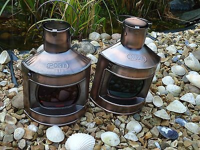 Ships Port Side & Starboard Copper Lanterns -Lamp-Portside Masthead Red Green