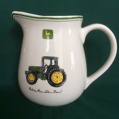 Large JOHN DEERE Tractor Stoneware Water Pitcher By Gibson