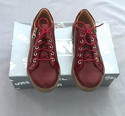 New Step2Wo London Burgundy Leather Trainer Shoes 32 Uk 13 Us 1 Girls/ Boys