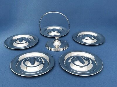 """Set of (5) Unusual Sterling Silver Round 3-6/16""""Ash Trays/ Stackable / 155 Gr"""