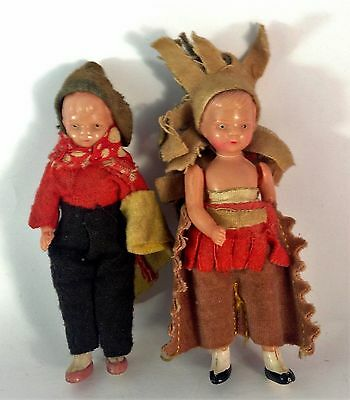 Two small dolls made in Japan 1930's in Indian & South American costumes
