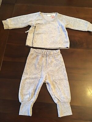 H&M Boy/girl Unisex Wrap Top And Trouser Set Outfit 2-4 Months Velvet Material