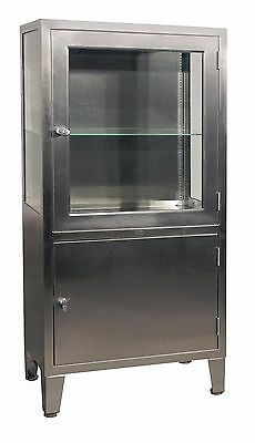 Vintage Stainless Steel & Glass Industrial / Medical Display Cabinet