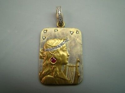18K Beautiful Art Nouveau style enamel pendant/diamonds