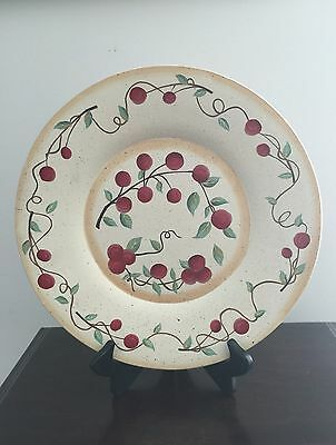 "Country Primitive Hand Painted Large Cherries Decorative Plate 12"" Wall Tabletop"