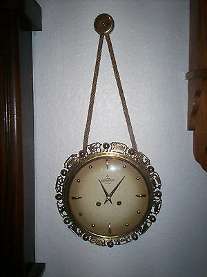 Vintage Heavy Brass German Wall clock with Ting -Tang Chime