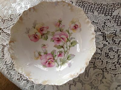 Antique Pansy Serving Bowl Made In Germany