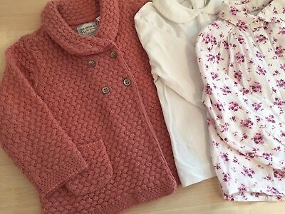 Zara Bundle 12-18 Floral Shirt Peter Pan Collar Top Cardigan Pink
