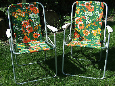 Vintage Retro Folding Garden Camping Chair VW Campervan Festival flower power