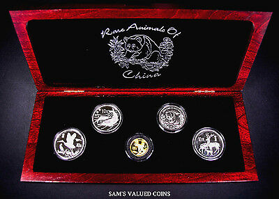1986 - 1992 Rare Animals Of China 5 Coin (1 Gold & 4 Silver) Proof Set + Coa