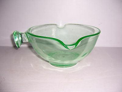 """Vintage USG CO. Green Depression Glass Mixing Bowl With Handle 9 1/8"""" Diameter"""