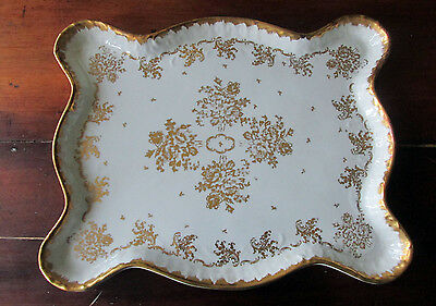 Limoges White & Gold Porcelain Hand Painted Made in France Buffet / Dresser Tray