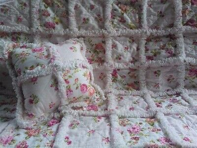 Baby Girl Rag Quilt Throw / Cottage Chic / Pink Roses / Patchwork