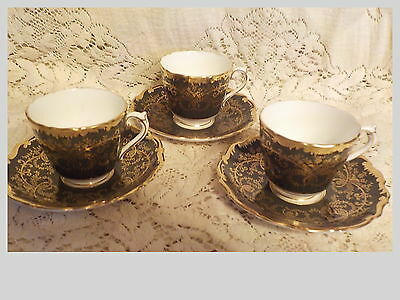 3 Coalport Anniversary Demitasse Cups And Saucers Black With Heavy Gold Trim