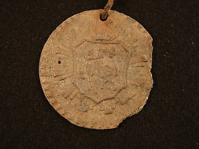 Post Medieval Lead Seal Matrix Plaque on Chain Knight on Horseback