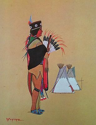 Stephen Mopope Vintage Print/litho Kiowa Flute Player Native American Kiowa Five
