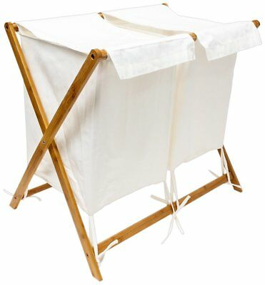 Relaxdays Bamboo Folding Laundry Basket With 2 Separate Compartments And Fabric