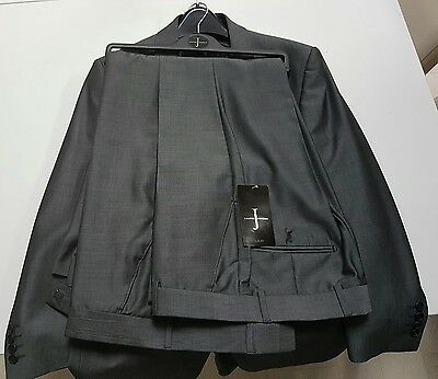 Shiny Grey Jasper Conran Suit with Two Pairs of trousers. 38 32 short. Worn once
