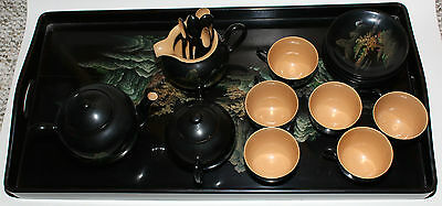 Vintage 23 piece Wooden Lacquer Chinese Tea Set 1950's