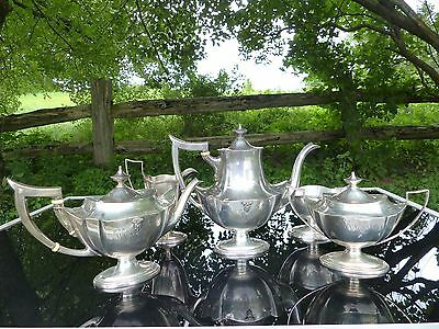 5 pc gorham plymouth sterling silver tea set applied westpoint military insignia