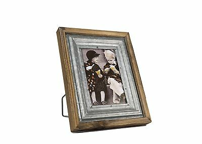 """4x6"""" Wood & Metal Table Desk Top Picture Photo Frame Wall Hanging Home Decor"""