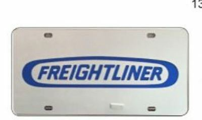 """license plate frame insert """"FREIGHTLINER"""" plastic 11-7/8"""" by 5-7/8"""" silver, blue"""