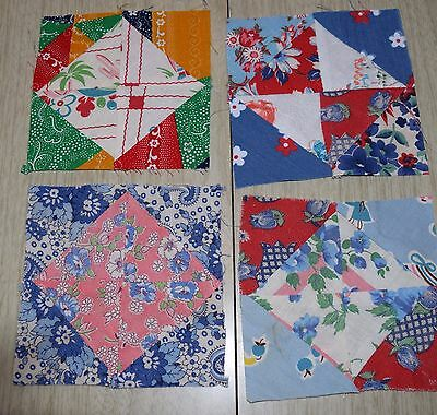 4 1940's Diamond in a Square quilt top, small and bright, feed sack fabrics!!