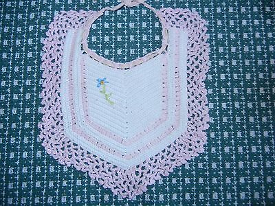 Vintage Hand Crocheted Girl's Baby Bib with Embroidered Forget Me Not