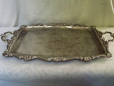 Vintage Silverplate Rectangular Tray with Handles