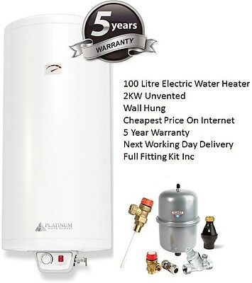100L 2KW Unvented Direct Electric Water Heater - 100 Litre With WRAS Fitting Kit