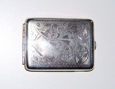Antique / Vintage Silver Plated Chased Decorated Vesta Match Book Case In VGC