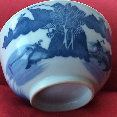 antique chinese blue bowl 11.5 cms 19 th century with interesting provenance