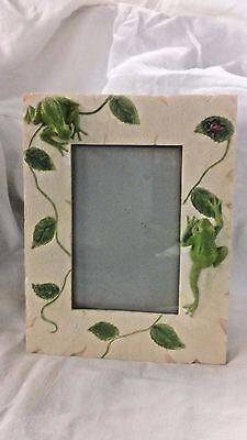 """Frog Picture Frame Ceramic Lady Bug 7"""" x 9"""""""