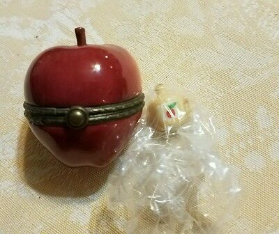 Red Apple Porcelain Hinged Box Midwest of Cannon Falls w/ apple cider figure