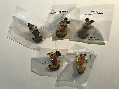Disney Pin Lot Of 5 Mickey Mouse Pins, 1928, 1931, 1936, 1947, 1988 NEW