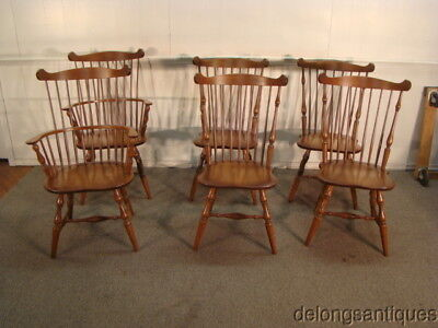 44851:Zimmerman Chair Set of 6 Fan-Back Solid Cherry Windsor Chairs