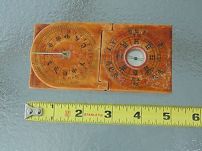 RARE VINTAGE ANTIQUE Inclining Compass Sundial in Wood Traditional Chinese