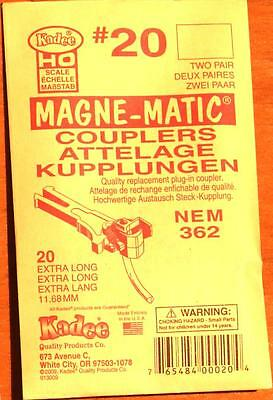 Kadee #20 pack - NEM 362 Extra Long Magne-Matic couplers HO/OO scale (2 pairs)