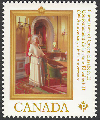 ca. QUEEN ELIZABETH II 60th ANNIV OF CORONATION Die Cut stamp Canada 2013 #2644i