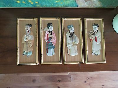4 Vintage Japanese 3D Paper Fabric Dolls Figures Pictures -Bamboo Frames