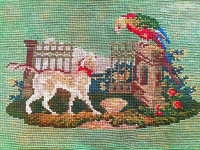 Antique wool Victorian needlepoint dog and parrot ***PRICE REDUCED***