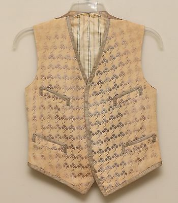 Antique 1910-20s Mens 36R/S Tan Grey Embroidered Three Leaf Clover Wool Vest